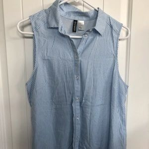 H&M size 10 blue & white striped button up top